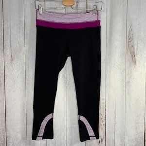 Lululemon Run Inspire Crop Leggings Black Violet 6